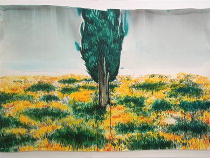 Abraham Lacalle: El cielo no es un lugar seguro, 2021. Acuarela sobre papel. 103x152 cm.