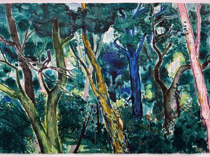 Abraham Lacalle: La foresta, 2021. Acuarela sobre papel. 152x232,5cm.