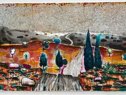 Abraham Lacalle: Bosque, 2021. Acuarela sobre papel. 102x153cm.
