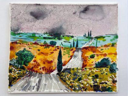 Abraham Lacalle: Desde el bosque, 2021. Acuarela sobre papel. 53x65cm.