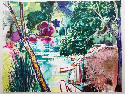 Abraham Lacalle: Riada, 2021. Acuarela sobre papel. 130,5x171 cm.