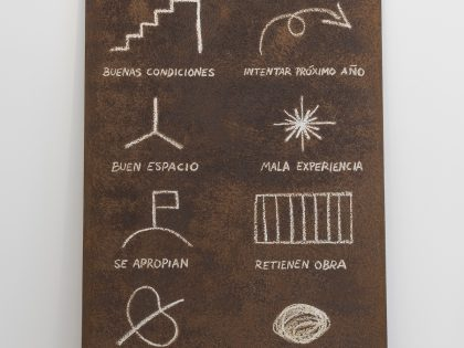 Manuel MInch: Código de artista 2, 2021. Óleo sobre acero, 243x121x2 cm