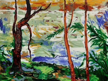 Abraham Lacalle: En el paisaje, 2020. Óleo sobre lienzo.100x101 cm.