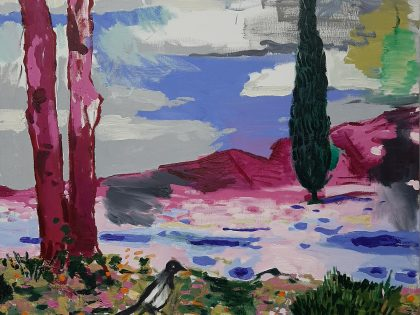 Abraham Lacalle: Ciprés, 2021. Óleo sobre lienzo. 100x100cm.
