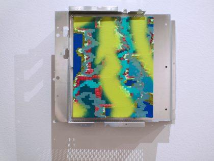 Néstor del Barrio: Diagrama 2, 2021. Acrílico sobre lienzo y marco metálico. 35x38x4,5 cm.