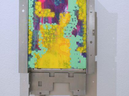 Néstor del Barrio: Diagrama 1, 2021. Acrílico sobre lienzo y marco metálico. 48,5x31x4,5 cm.
