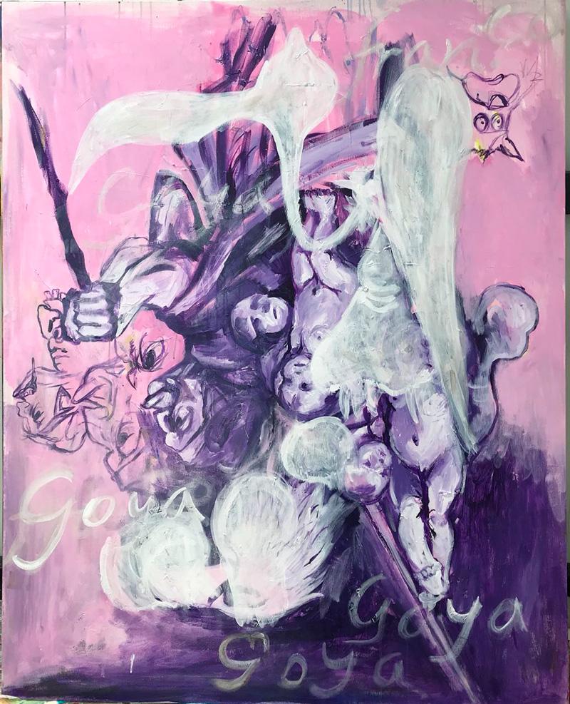 Manuel Ocampo. Micro-agresión expresionista: versión goyesca rosa. Circa: 1921