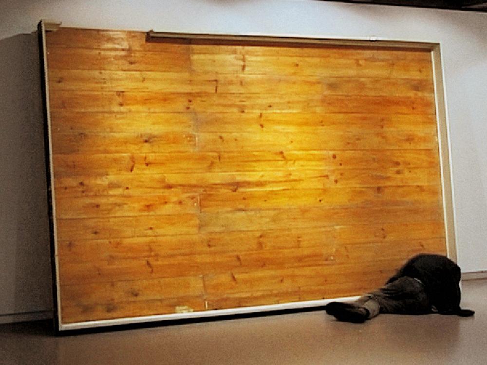 NOÉ SENDAS. Laid on a vertical floor. (2000- 2001. Técnica mixta. 400x50x230 cm.))