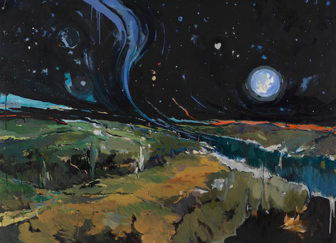 Alfonso Guazo. Paisaje nocturno con río
